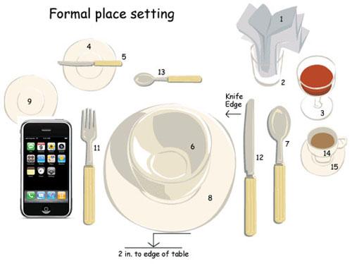 NO smartphone a tavola, non sono posate